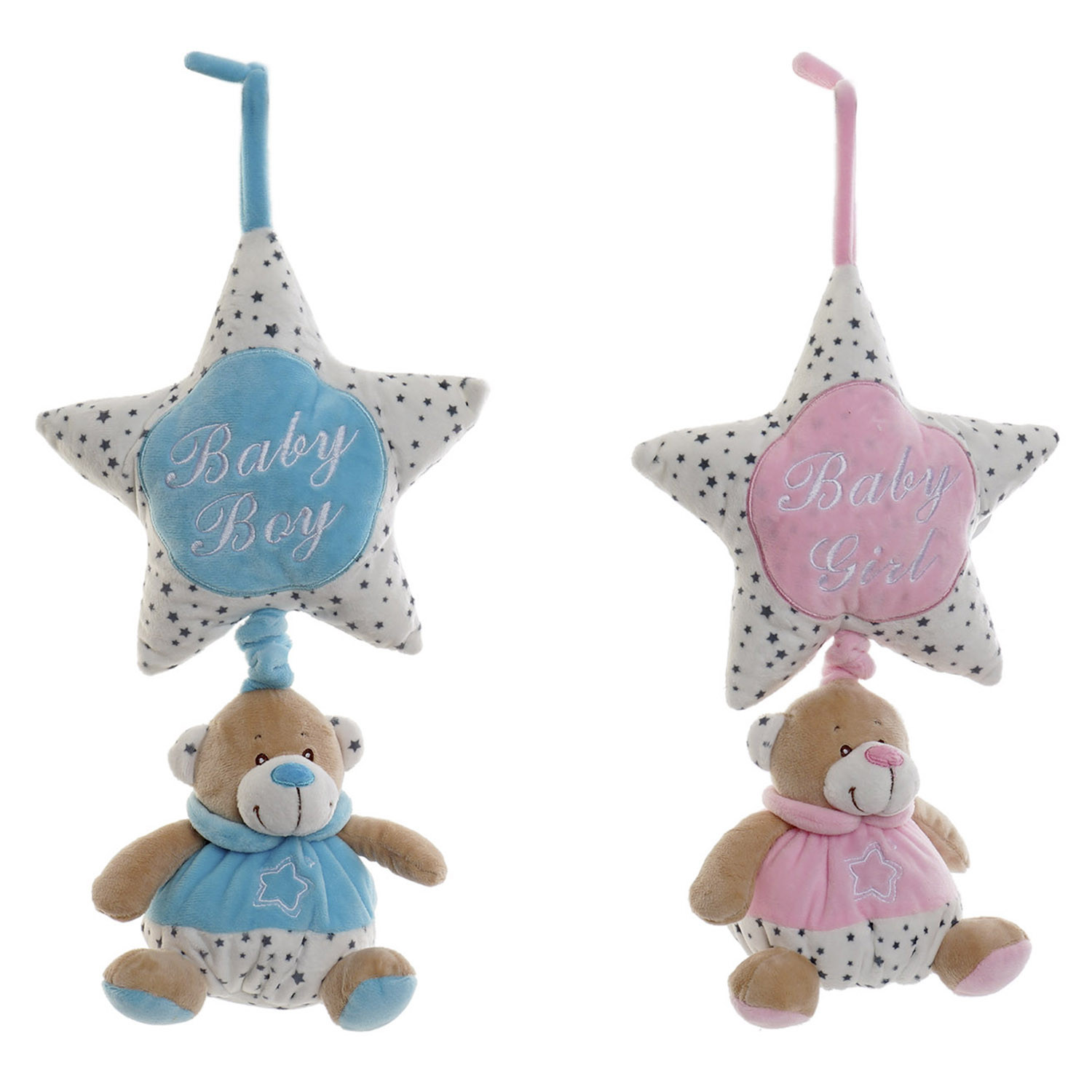 Plush Musical Bear Star, for Babies and Children, with eyelet for hanging. Animal design, with style Child - Home and More