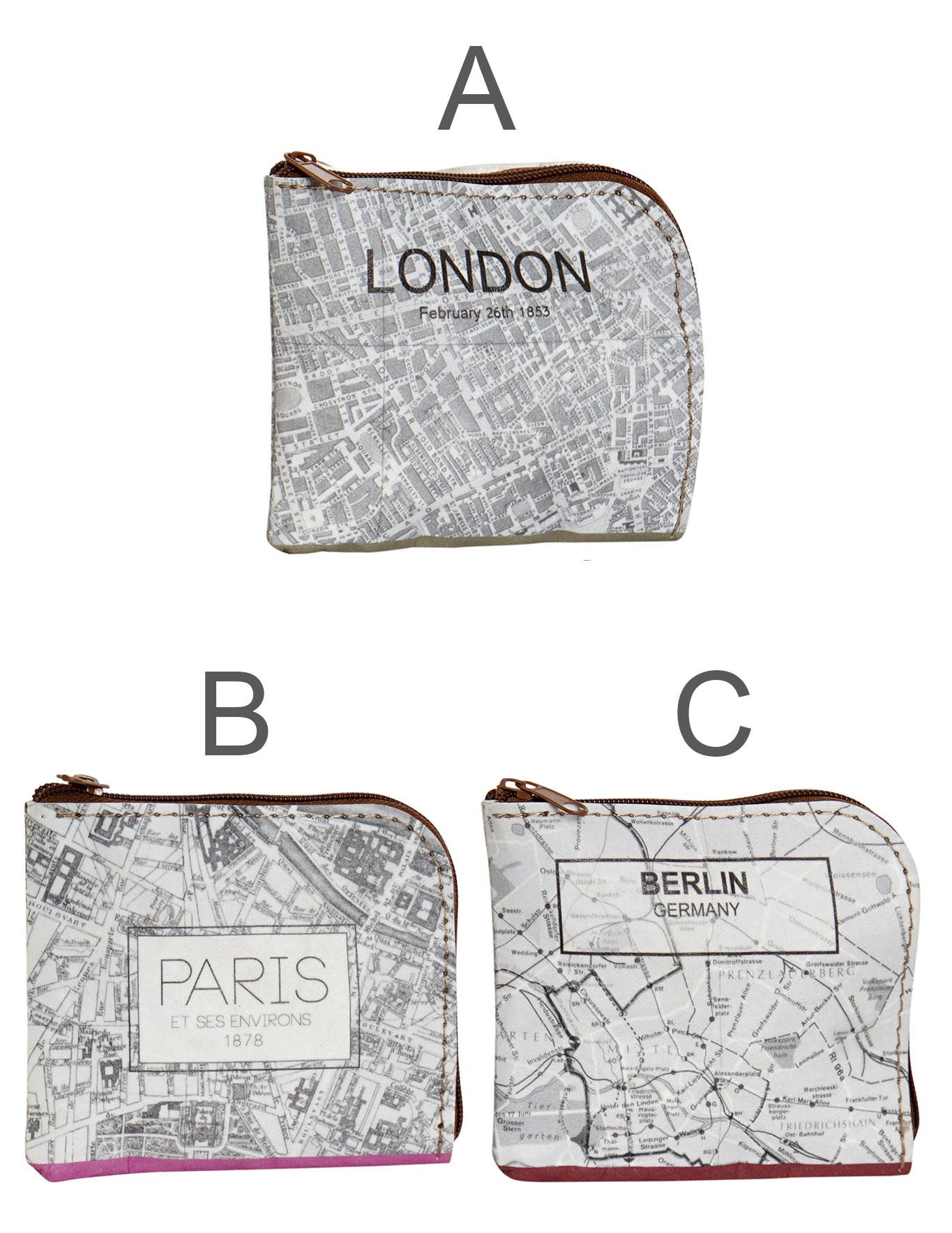 Monedero de Cartón Ecológico, Mapa. Monederos pequeños Originales 10X1X9  cm