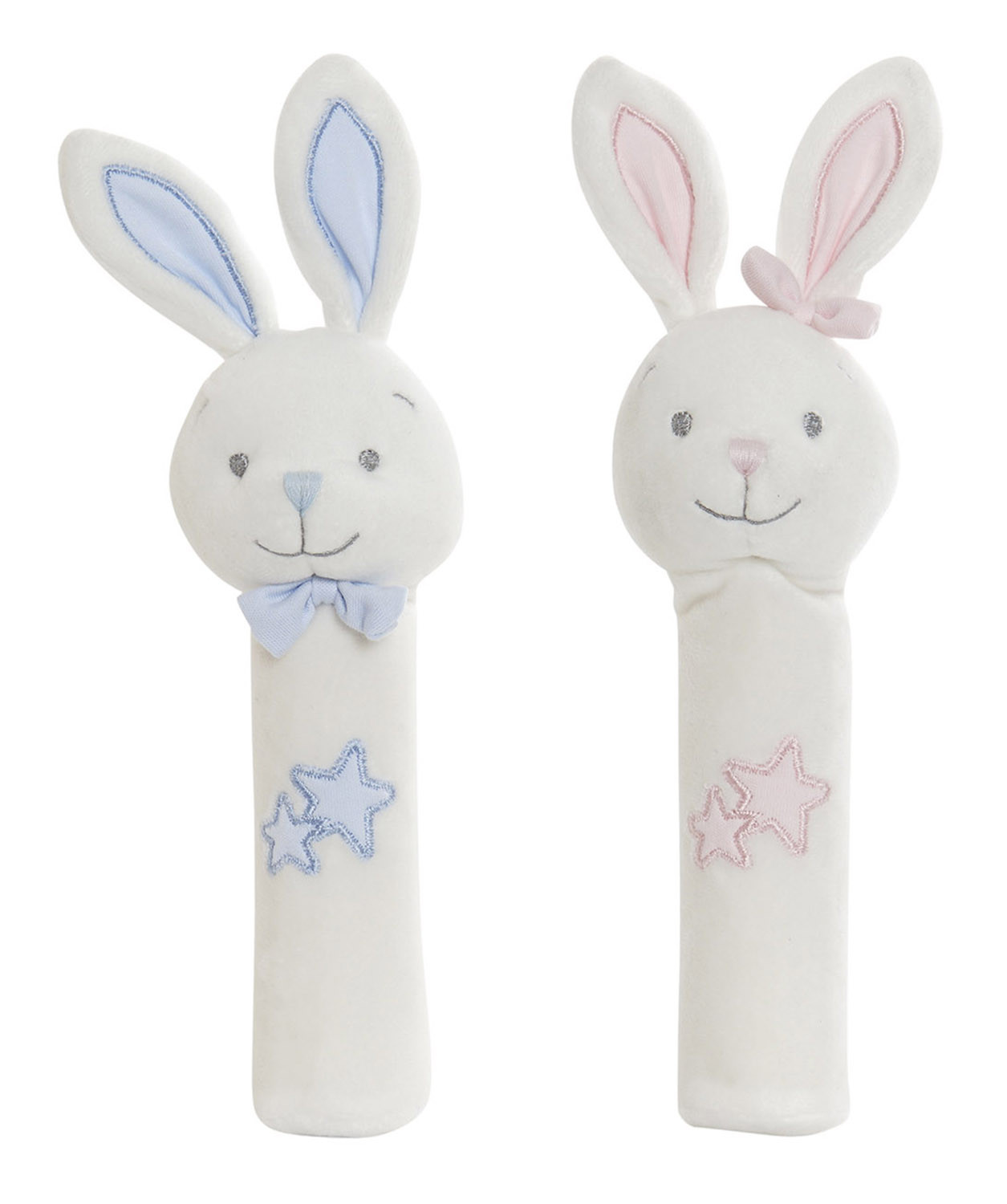 Plush Elongated Bunny with Stars, Ideal for Children and Babies, Animal Design, Plush Infant 8x7x25cm - Home and More
