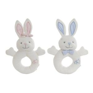 Rattle Plush Bunny rabbit, made in Polyester, with design of Animals and Child style, Baby 13x6x20cm - Home and More