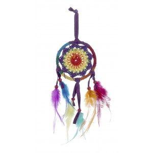 Atrapasueños Algodón con Plumas Multicolor, Atrapa sueños Colgante Original 9X34 cm