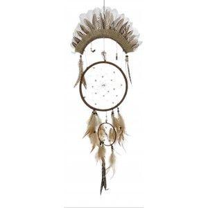 Atrapasueños Grande de Pared con Plumas, de colores Neutros. Diseño Étnico, con estilo Bohemio Natural  30X85 cm