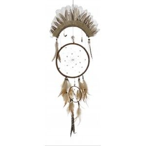 Dream catcher Large Wall with Feathers, Neutral colors. Ethnic design with Bohemian style Natural 30X85 cm