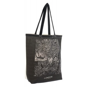 Hand bag for Shopping, Polyester Bag, Cotton Handles, Design of Map Cities 43x15x40 cm - Home and More