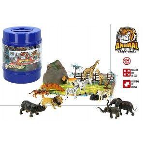 Animals Pot with 22 Accessories for Children, Figures of Wild Animals. Toys for children 18x23 cm