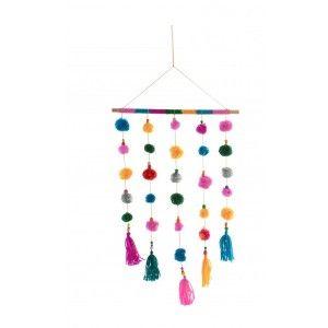 Decoración Colgante de Pared, Decoracion Colgante Multicolor, con Pompones 36X81cm - Hogar y Más