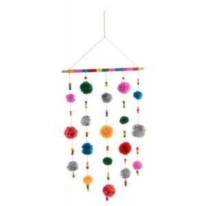 Decor Wall Hanging, Decor Hanging, Multicolor with pom-Poms 35X78cm - Home and More
