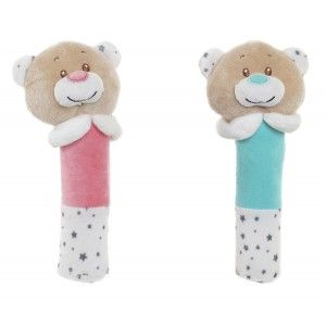 Plush Teddy bear, Rattle Baby Rattle for the Hands. Design of Animal, with Child style 7x7x18cm