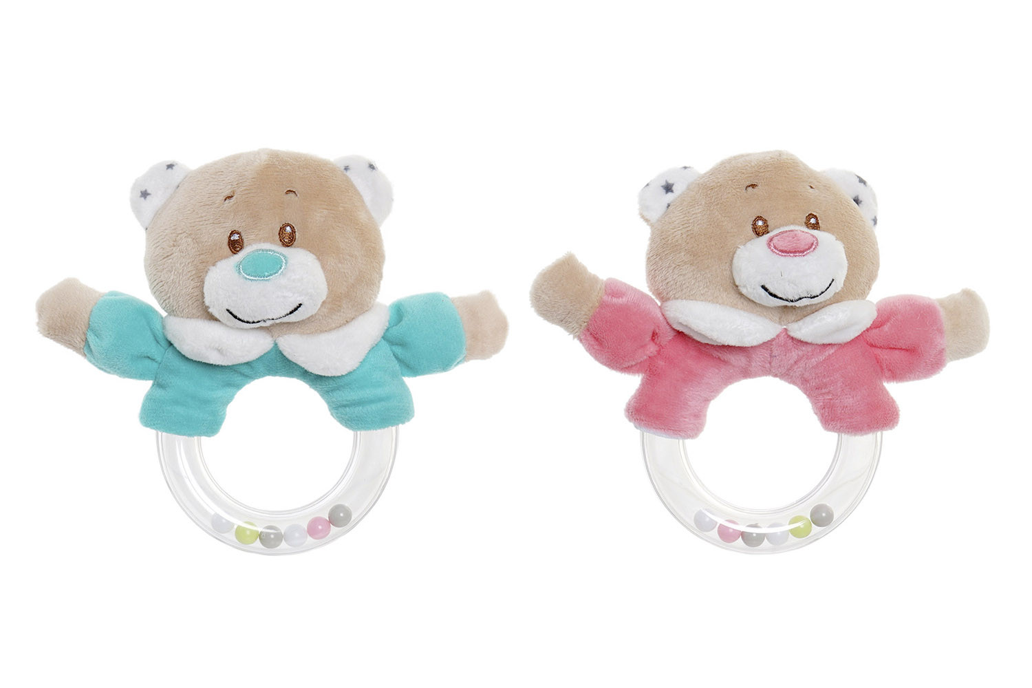 Plush Teddy bear, Rattle Baby Rattle for the Hands With Balls. Design of Animal, with Child style 16x6x14cm