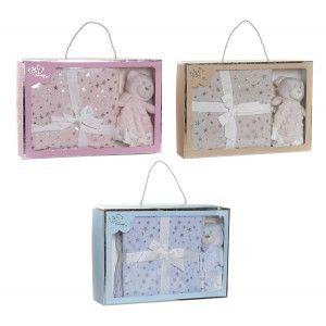 Set de Manta y Doudou de Osito con Estrellas, Ideal para Niños y Bebés, Diseño Animal, Doudou Infantil 75x100cm - Hogar y Más