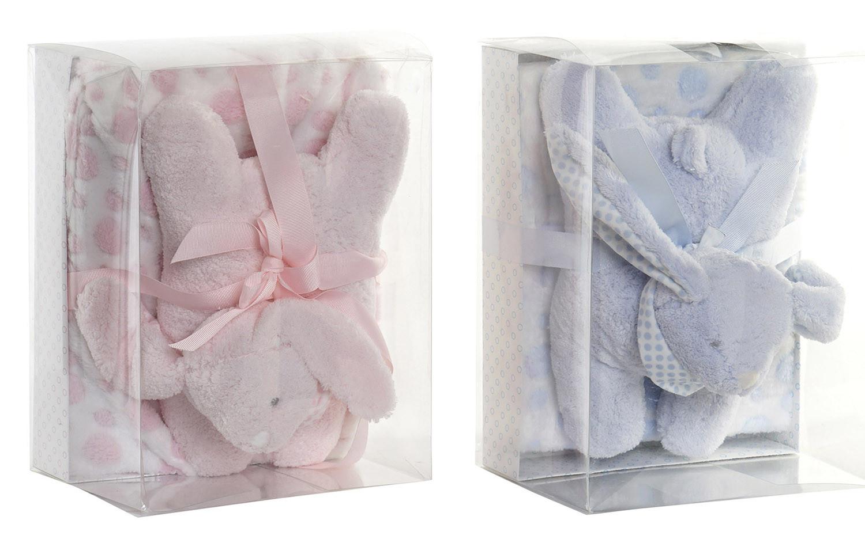 Set de Manta y Peluche de Conejito con Lunares, Ideal para Niños y Bebés, Diseño Animal, Peluche Infantil 75x100cm - Hogar y Más