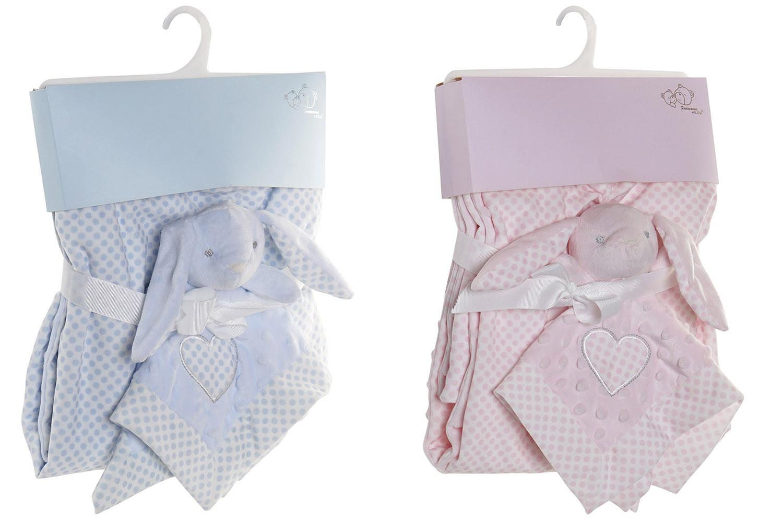 Set de Manta y Doudou de Conejito con Lunares, Ideal para Niños y Bebés, Diseño Animal, Doudou Infantil 75x100cm - Hogar y Más