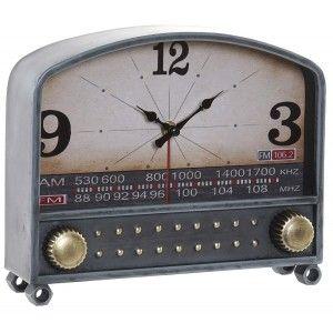 Reloj de Mesa Analógico de Metal y Cristal, Reloj Radio Azul de Metal, Diseño Moderno/Elegante 26x7x21,5cm Hogar y Más