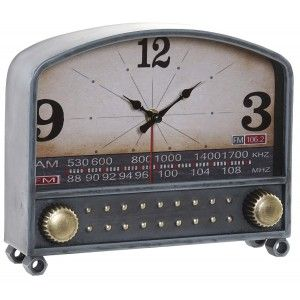 Table clock Analog Metal and Crystal, Clock Radio Blue Metal, Design, Modern/Stylish 26x7x21,5cm Home and More