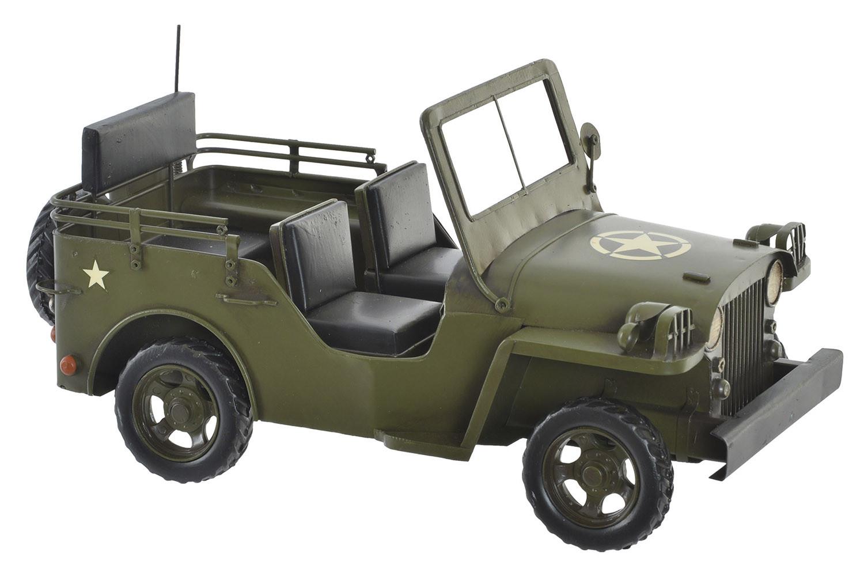 Coche/Vehículo Militar Vintage, Figura Decorativade Jeep de Metal. Diseño Antiguo/Realista 29X14X15 cm - Hogar y Más