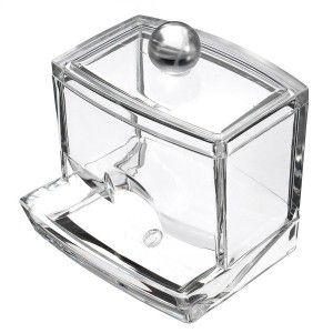Dispensador de Bastoncillos Transparente en Acrílico, Accesorios de Baño Originales 9,3x8x9,9 cm