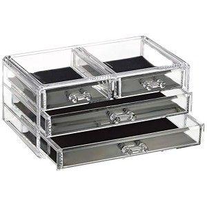 Jewelry Organizer Clear Acrylic 4 Drawers Box Storage, Original Design/Elegant 23,8x10,8x15,3 cm