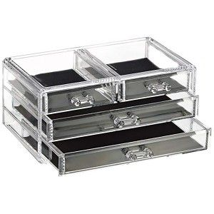 Joyero Organizador Transparente de Metacrilato, 4 Cajones, Caja Almacenaje, Diseño Original/Elegante 23,8x10,8x15,3 cm