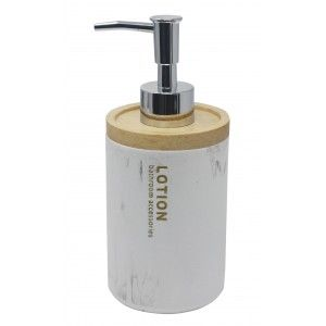 Dispenser White Resin with a Lid of Bamboo, Dispenser with finish of Marble, Elegant/Modern, 18x7,5cm - Home and More