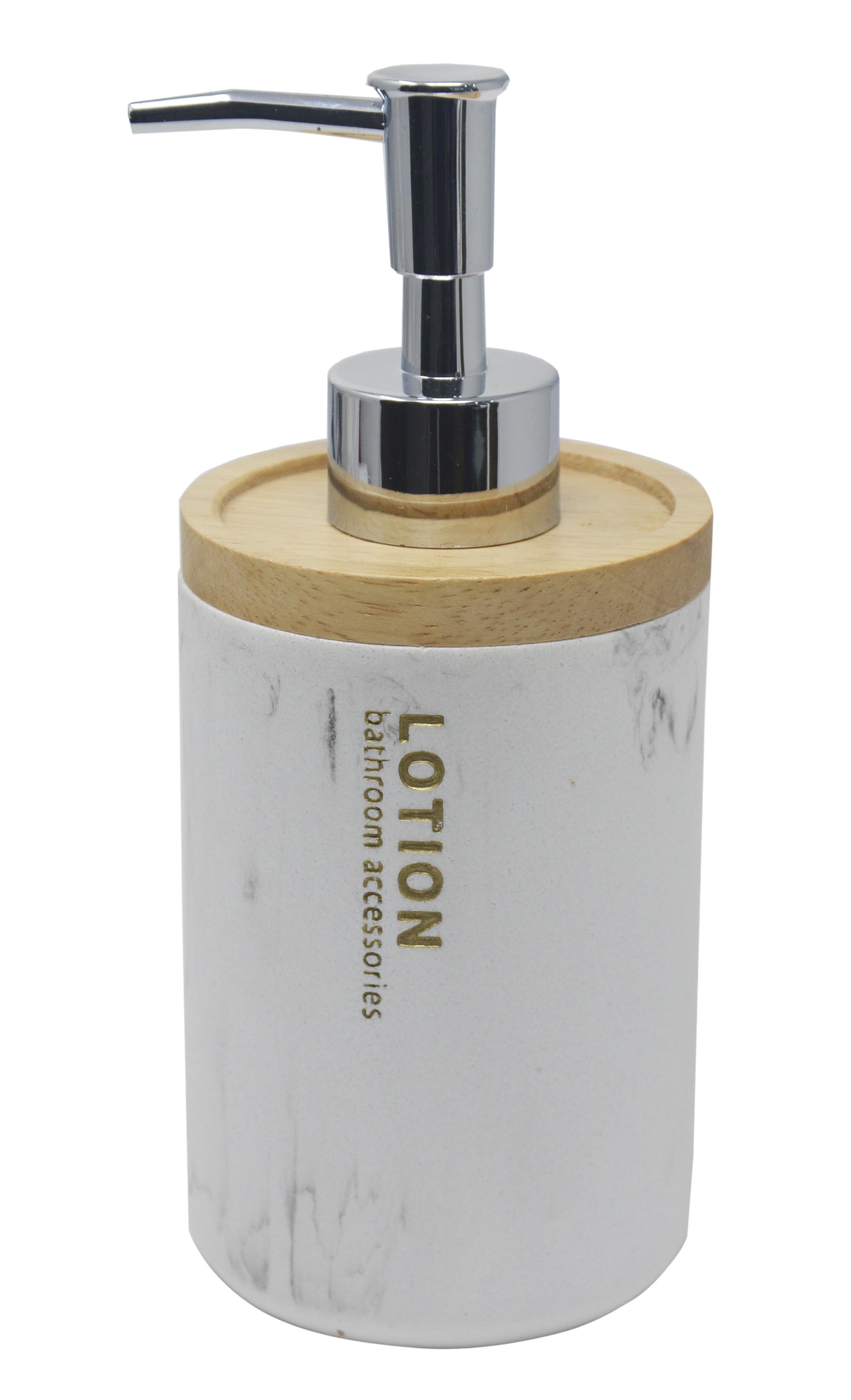 Dosificador Blanco de Resina con Tapa de Bambu, Dosificador con acabado de Marmol, Elegante/Moderno 18x7,5cm - Hogar y Más