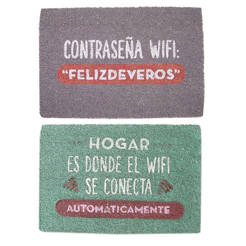 """Felpudo Divertido/Original Antideslizante para Entrada, Realizado en Coco Natural con la Frase """"Wifi"""" 40x70 cm.-Hogar y Mas-"""