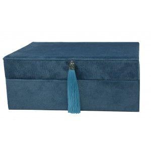 Joyero Organizador de Terciopelo, Doble Cajón. Caja Azul Almacenaje Joyas con Fleco Elegante 22x9x16,5 cm