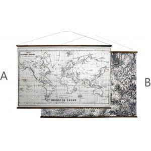 Lona de Lienzo Impresa, Decoración colgante de interior, Blanco y Negro, Cartel Impreso con Desplazamiento de Madera 110x73cm