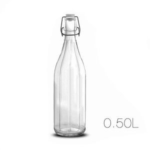 Bottle Clear Glass 0.75 L with Cap Sealed to the Closure, Design With Relief and Clean 7X26cm - Home and More