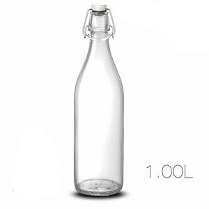 Botella Cristal Transparente 1L con Tapon Hérmetico para el Cierre, Diseño Liso y Limpio  8,6X30,7cm - Hogar y Más
