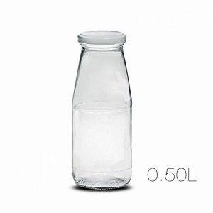 Botella Leche Cristal Transparente 0,5L con Tapon Hérmetico, Diseño Liso y Limpio  7X17,5cm - Hogar y Más