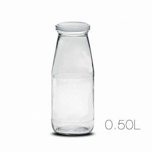 Bottle Milk Clear Glass 0.5 L with Cap Sealed, Smooth Design and Clean, 7X17,5cm - Home and More