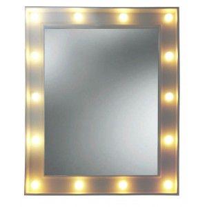 Espejo LED Blanco de Pared, Espejos de Maquillaje Pared. Espejo Rectangular con Luz 39x4x49 cm
