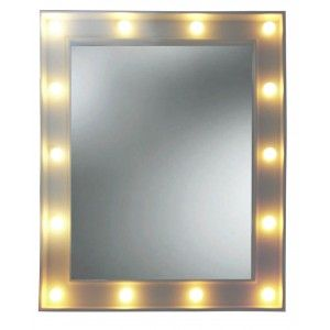 Mirror White LED Wall Makeup Mirrors Wall. Mirror Rectangular with Light 39x4x49 cm
