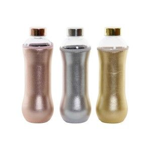 Botella Cristal Agua 600 ml, Botellas de Agua con Funda y Tapa. Diseño Práctico y Moderno 8,5x8,5x23 cm 600mL - Hogar y Mas