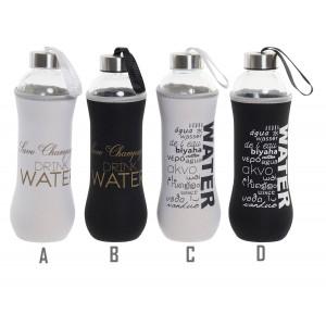 Botella Cristal Agua 600 ml, Botellas de Agua con Funda, Tapa y Transportador. Incluye Frase, Práctico y Moderno 7x7x24,5 cm