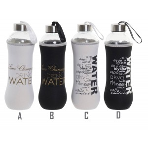 Glass bottle Water 600 ml, Water Bottles with Sleeve, Cap and Carrier. Includes Phrase, Practical and Modern 7x7x24,5 cm