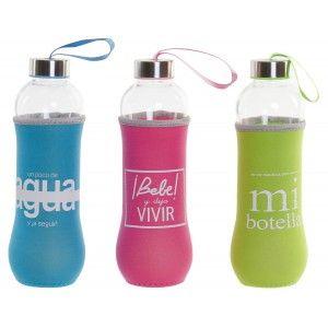 Botella Cristal Agua 600 ml, Botellas de Agua con Funda, Tapa y Transportador. Frase Motivadora,  Práctico y Moderno 7x7x25cm