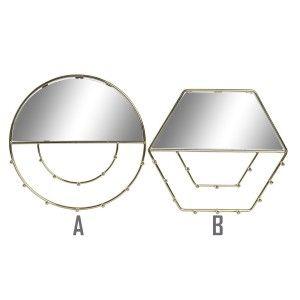 Espejo Joyero Pared Dorado de Metal, Espejos Joyeros Decorativos Originales. Decoración Dormitorio/Baño 3,5xø27cm - Hogar y Mas