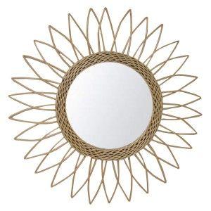 Espejo Pared Circular de Ratán Natural, Espejos Decorativos Originales. Decoración Dormitorio/Baño ø51,5 cm