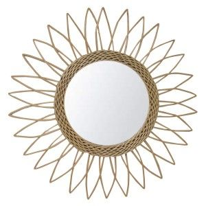 Mirror Circular Wall of Natural Rattan, Decorative Mirrors Original. Decoration Bedroom/Bathroom ø51,5 cm