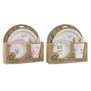 Vajilla Set de 5 Productos, Bambú Reciclado, Reutilizable, Diseño Animal Panda, Producto Infantil 25x9,5x24cm - Hogar y Más