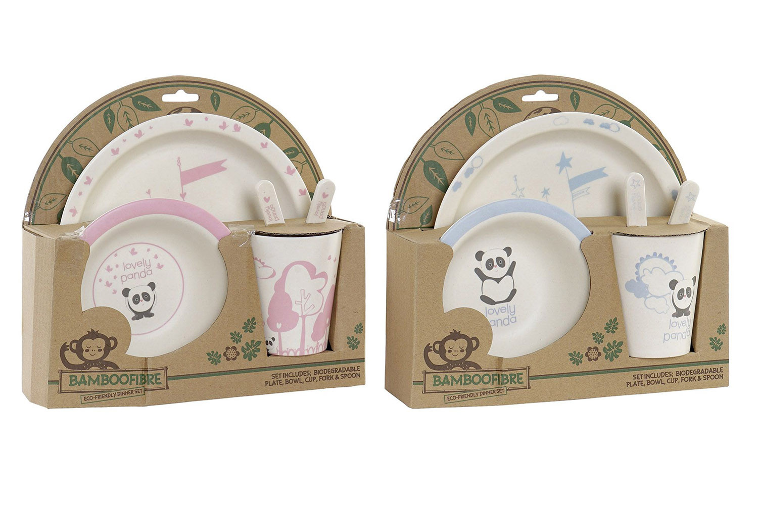Cutlery Set of 5 Products, Bamboo, Recycled, Reusable, Animal Design Panda, Product Child 25x9,5x24cm - Home and More
