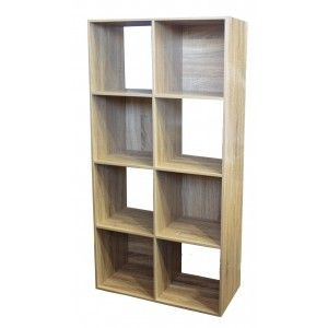 Bookcase in Wood with 8 Compartments, Wooden Shelf Original/Modern.Interior decoration, 133,5x32,5x67,5cm