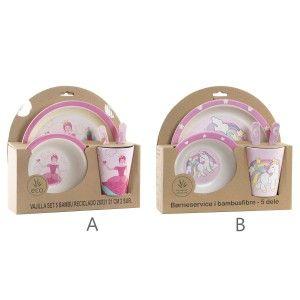 Vajilla Set de 5 Productos, Bambú Reciclado, Re-utilizable, Diseño Rosa Fantasía, Producto Infantil 25x9,5x24cm - Hogar y Más