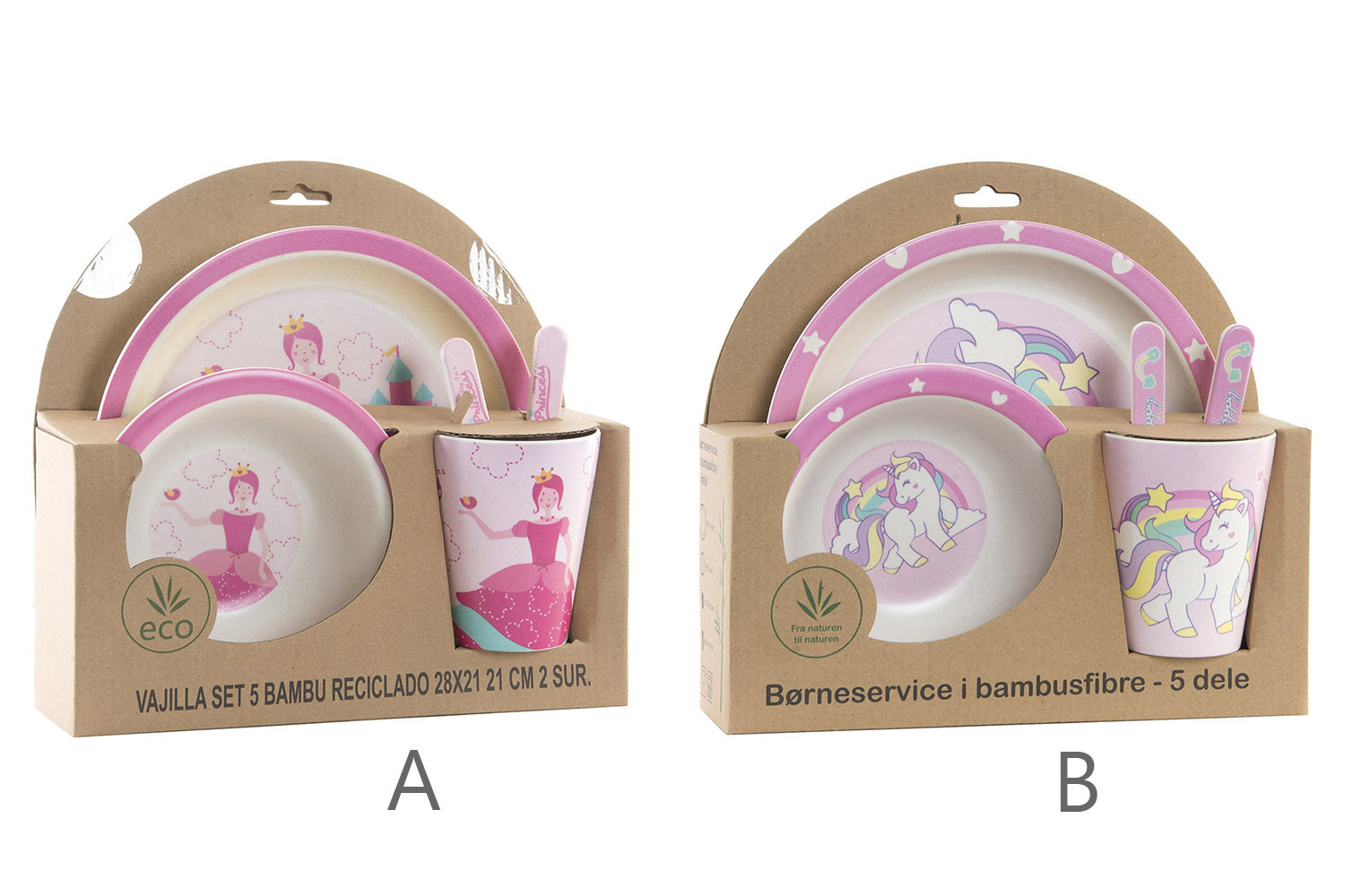 Cutlery Set of 5 Products, Bamboo, Recycled, Re-usable, Design, Pink Fantasy, Product Child 25x9,5x24cm - Home and More