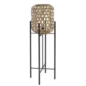 Lámpara de Sobremesa de Metal Ratán, diseño Moderno y Original, Lámpara para Salón Elegante, 27x27x97cm - Hogar y Más