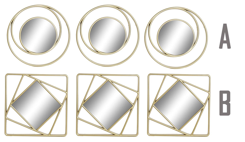 Espejos Pared Decorativos Geométricos, ideales para Dormitorio. Diseño Moderno, con estilo Original. Set de 3 - Hogar y Más