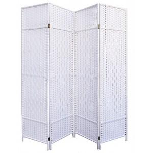 Folding screen White Natural Bamboo 180 cm, Folding screen room Divider/ Dressing room. 4 Panels 180x180cm