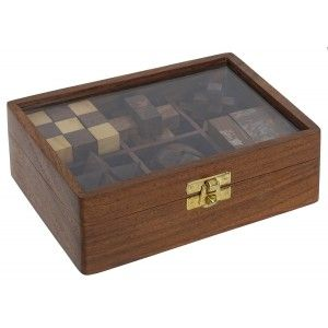 Game Wooden Puzzle 6 in 1, 3D Puzzle Adolescents and Adults, Sheesham Brass Puzzle, 17,5x12x6cm - Home and More