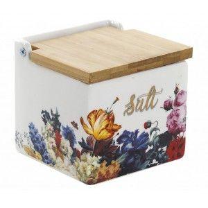 Salero Cocina Floral con Tapa de Madera Bambú, 750 ml, Almacenamiento de Especias. Tarro/Bote Conservas 11x11x11 cm